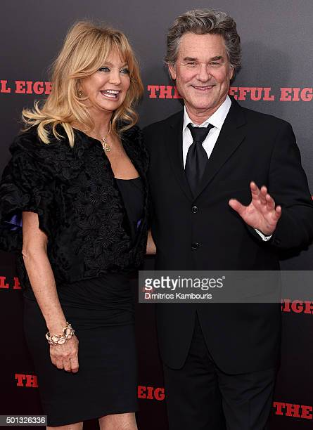 Actors Goldie Hawn and Kurt Russell attend the New York premiere of 'The Hateful Eight' on December 14 2015 in New York City