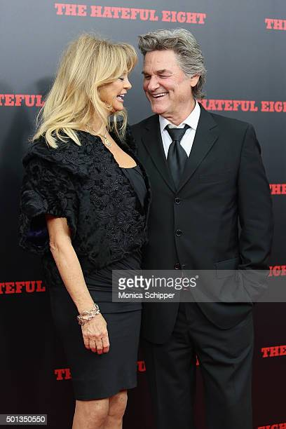 Actors Goldie Hawn and Kurt Russell attend the The New York Premiere Of 'The Hateful Eight' on December 14 2015 in New York City