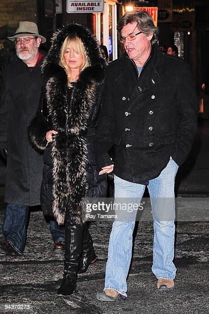 Actors Goldie Hawn and Kurt Russell walk to their Midtown Manhattan home after seeing Catherine ZetaJones's performance in A Little Night Music on...