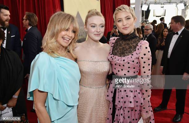 Actors Goldie Hawn, Dakota Fanning and Kate Hudson attend the 24th Annual Screen Actors Guild Awards at The Shrine Auditorium on January 21, 2018 in...