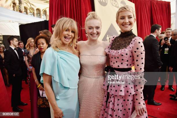 Actors Goldie Hawn Dakota Fanning and Kate Hudson attend the 24th Annual Screen Actors Guild Awards at The Shrine Auditorium on January 21 2018 in...