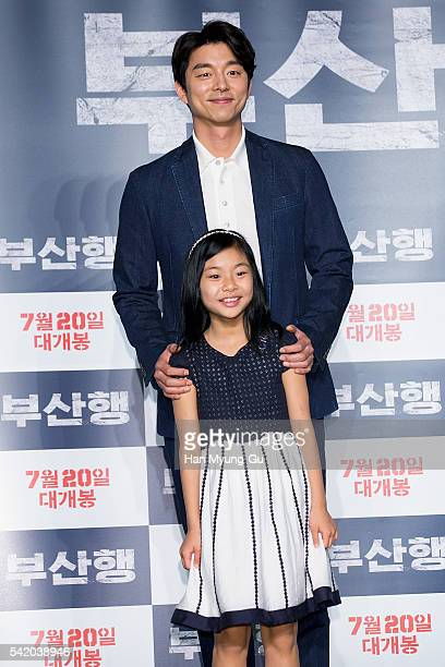 Actors Gong Yoo and Kim SuAn attend the press conference for Train To Busan at Nine Tree on June 21 2016 in Seoul South Korea The film will on July...