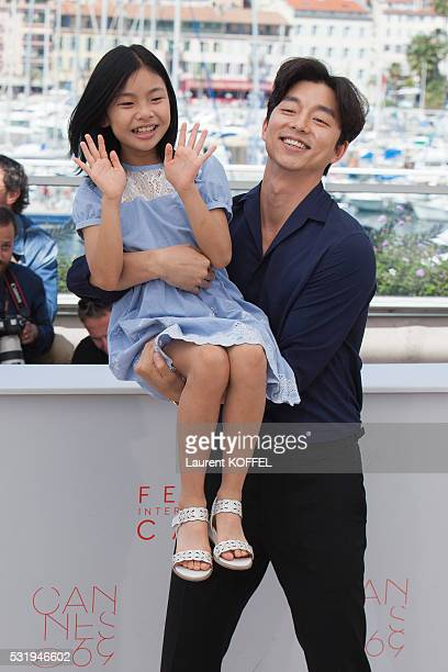 Actors Gong Yoo, Kim Su-an attend the 'Train To Busan ' Photocall at the annual 69th Cannes Film Festival at the Palais des Festivals on May 14, 2016...