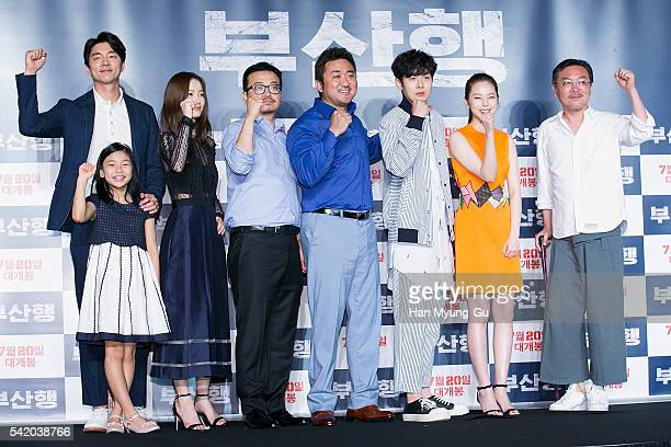 Actors Gong Yoo Kim SuAn Ma DongSuk Jung YuMi Ahn SoHee Choi WooShik Kim EuiSung and director Yeon SangHo attend the press conference for Train To...