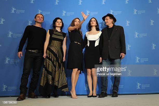 Actors Goran Kostic Vanesa Glodjo director Angelina Jolie actrors Zana Marjanovic and Rade Srbedzija attend the In The Land Of Blood And Honey...