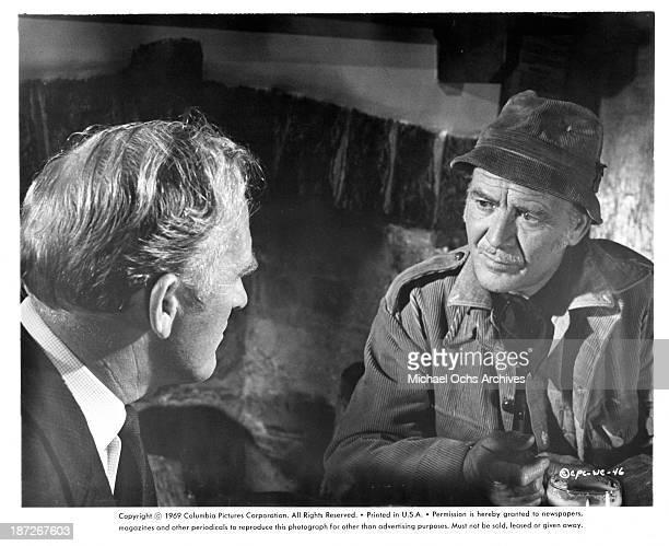 Actors Gordon Jackson and John Mills on set of the Columbia Pictures movie Run Wild Run Free in 1969