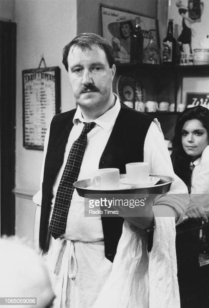 Actors Gordon Kaye and Francesca Gonshaw in a scene from the television sitcom ''Allo 'Allo' September 11th 1982
