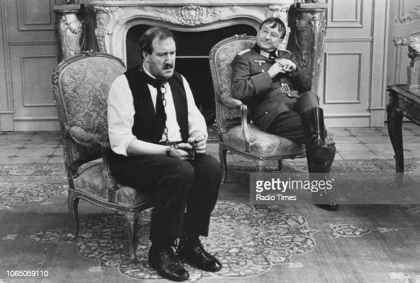 Actors Gordon Kaye and Sam Kelly in a scene from the television sitcom ''Allo 'Allo' May 19th 1984