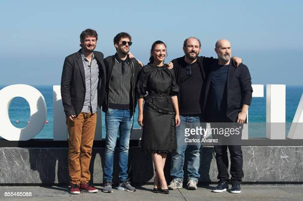 Actors Gorka Otxoa Julian Lopez Miren Ibarguren Borja Cobeaga and Javier Camara attend 'Fe De Etarras' photocall during the 65th San Sebastian...