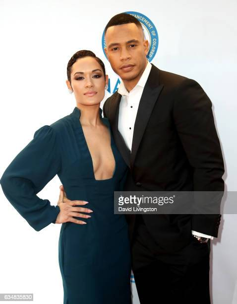 Actors Grace Byers and Trai Byers attend the 48th NAACP Image Awards at Pasadena Civic Auditorium on February 11, 2017 in Pasadena, California.