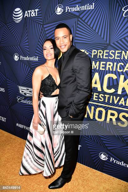 Actors Grace Gealey and Trai Byers attend BET Presents the American Black Film Festival Honors on February 17, 2017 in Beverly Hills, California.