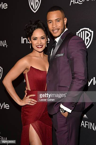 Actors Grace Gealey and Trai Byers attend InStyle and Warner Bros. 73rd Annual Golden Globe Awards Post-Party at The Beverly Hilton Hotel on January...