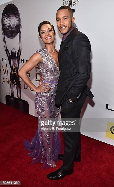 Actors Grace Gealey and Trai Byers attend the 47th NAACP Image Awards presented by TV One at Pasadena Civic Auditorium on February 5 2016 in Pasadena...