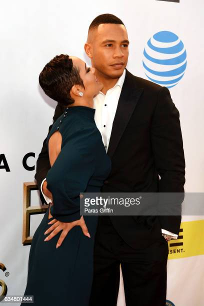 Actors Grace Gealey and Trai Byers attend the 48th NAACP Image Awards at Pasadena Civic Auditorium on February 11, 2017 in Pasadena, California.