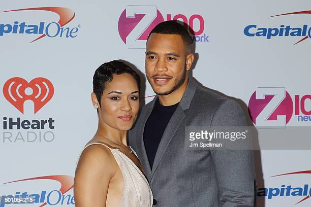 Actors Grace Gealey and Trai Byers attend the Z100's iHeartRadio Jingle Ball 2015 at Madison Square Garden on December 11 2015 in New York City