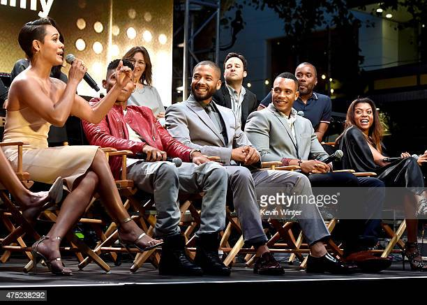 Actors Grace Gealey Bryshere Yazz Gray Jussie Smollett Trai Byers and Taraji P Henson appear onstage at the Television Academy event for Fox Tv's...