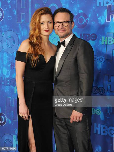 Actors Grace Gummer and Christian Slater arrive at HBO's Post Emmy Awards Reception at The Plaza at the Pacific Design Center on September 18 2016 in...