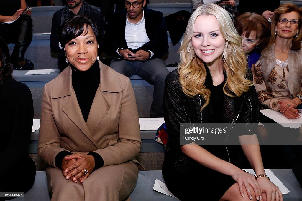 Actors Grace Hightower and Helena Mattsson attend the Carmen Marc Valvo Fall 2013 fashion show during Mercedes-Benz Fashion Week at The Stage at Lincoln Center on February 8, 2013 in New York City.