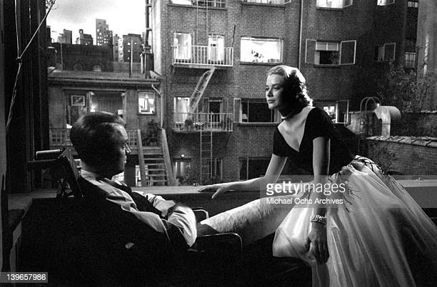 Actors Grace Kelly and Jimmy Stewart on the set of the Paramount Pictures movie 'Rear Window' in November 1953 in Los Angeles California