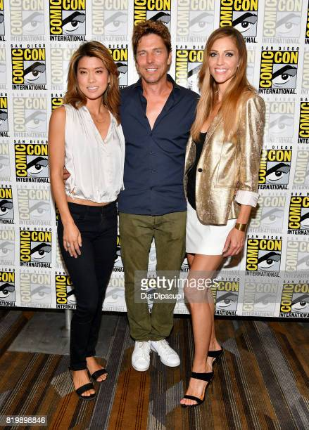 Actors Grace Park Michael Trucco and Tricia Helfer at the 'Battlestar Galactica' Reunion press line during ComicCon International 2017 at Hilton...