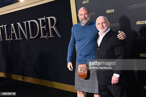 Actors Graham McTavish and Gary Lewis attend the Outlander midseason New York premiere at Ziegfeld Theater on April 1 2015 in New York City