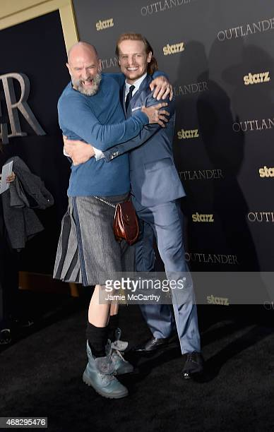 Actors Graham McTavish and Sam Heughan attend the Outlander midseason New York premiere at Ziegfeld Theater on April 1 2015 in New York City