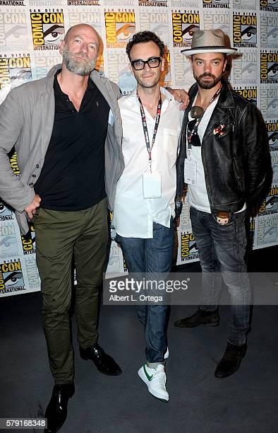 Actors Graham McTavish Joseph Gilgun and Dominic Cooper attend AMC's Preacher panel during ComicCon International 2016 at San Diego Convention Center...