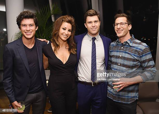 Actors Graham Phillips and Gina Gershon film writer/actor Colin Jost and actor/TV personality Andy Samberg attend the after party for the New York...