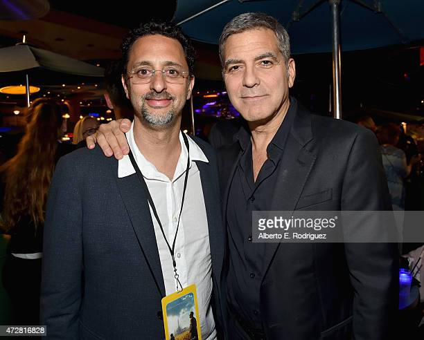 Actors Grant Heslov and George Clooney attend the after party for the world premiere of Disney's Tomorrowland at Disneyland Anaheim on May 9 2015 in...