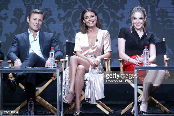 Actors Grant Show Nathalie Kelley and Elizabeth Gillies of 'Dynasty' speak onstage during the CW portion of the 2017 Summer Television Critics...