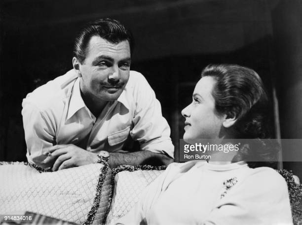 Actors Gérard Landry and Nadia Gray film a scene for 'Night Without Stars' at Pinewood Studios UK1st November 1950