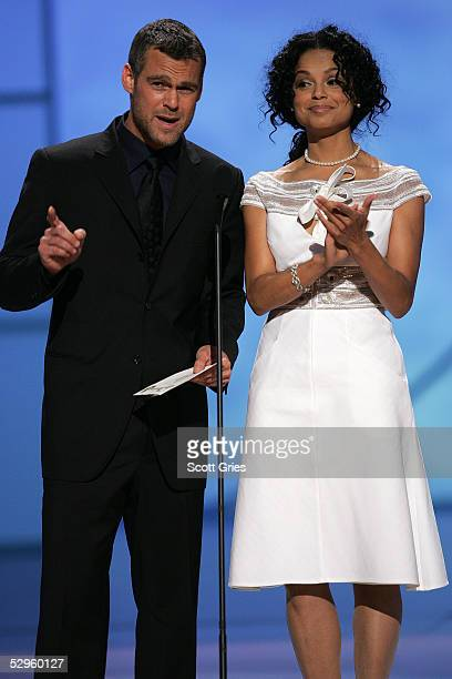 Actors Grayson McCouch and Victoria Rowell present an award at the 32nd Annual Daytime Emmy Awards at Radio City Music Hall May 20 2005 in New York...
