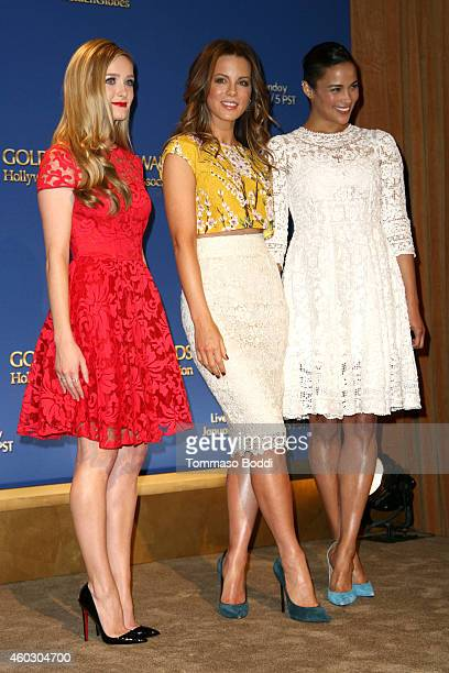 Actors Greer Grammer Kate Beckinsale and Paula Patton attend the 72nd Annual Golden Globe Awards nominations on December 11 2014 in Beverly Hills...