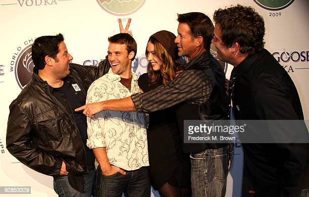 Actors Greg Grunberg Jesse Spencer actress Elizabeth Griffith actors James Denton and Bob Guiney attend the Breeders' Cup Winners Circle event at the...