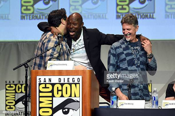 Actors Greg Grunberg Jimmy JeanLouis and writer/producer Tim Kring onstage at the Heroes Reborn exclusive extended trailer and panel during ComicCon...