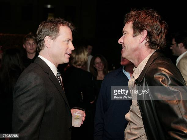 Actors Greg Kinnear and Dennis Quaid chat during the afterparty for the premiere of MGM's Feast of Love at the Academy of Motion Picture Arts and...