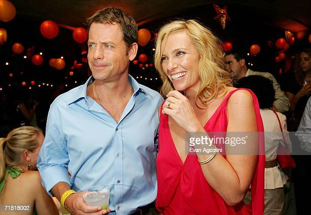 Actors Greg Kinnear and Toni Collette attend the Little Miss Sunshine premiere after party at the 79th Street Boat Basin July 25 2006 in New York City