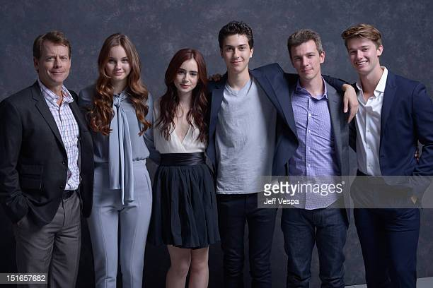"Actors Greg Kinnear, Liana Liberato, Lily Collins, Nat Wolff, director Josh Boone and actor Patrick Schwarzenegger of ""Writers"" pose at the Guess..."