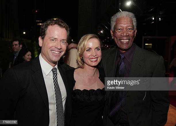 Actors Greg Kinnear Radha Mitchell and Morgan Freeman pose during the afterparty for the premiere of MGM's Feast of Love at the Academy of Motion...