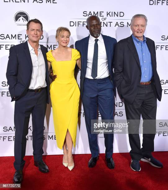 Actors Greg Kinnear Renee Zellweger Djimon Hounsou and Jon Voight arrive at the premiere of 'Same Kind of Different as Me' at Westwood Village...
