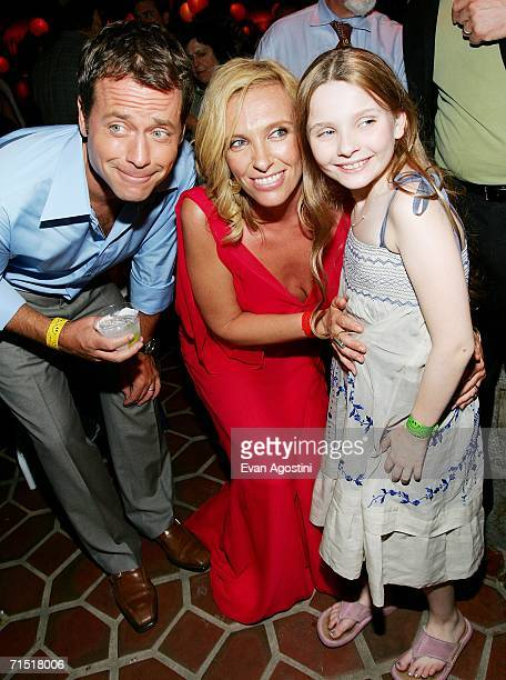 Actors Greg Kinnear Toni Collette and Abigail Breslin attend the Little Miss Sunshine premiere after party at the 79th Street Boat Basin July 25 2006...