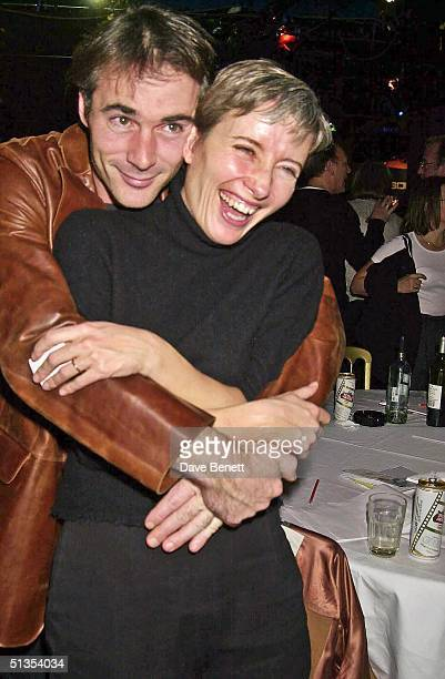 Actors Greg Wise and Emma Thompson at the Oscar Moore Screenwriting Prize Awards Dinner held at Sound Leicester Square on 28th November 2001 in London