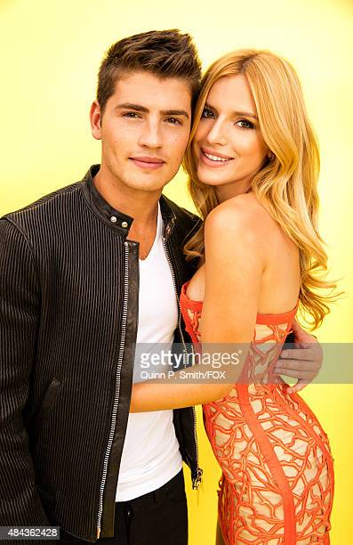 Actors Gregg Sulkin and Bella Thorne pose for a portrait during the 2015 Teen Choice Awards FOX Portrait Studio at Galen Center on August 16 2015 in...