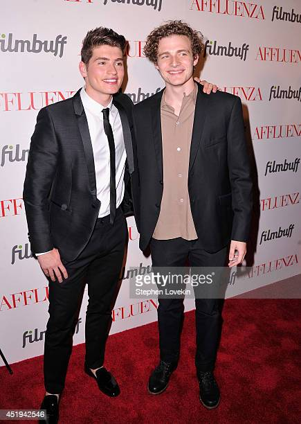 Actors Gregg Sulkin and Ben Rosenfield attend the 'Affluenza' premiere at SVA Theater on July 9 2014 in New York City
