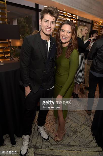Actors Gregg Sulkin and Katie Stevens attend the MTV Press Junket Cocktail Party at The London West Hollywood on February 18 2016 in West Hollywood...