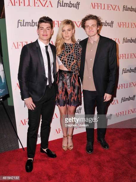 Actors Gregg Sulkin Nicola Peltz and Ben Rosenfield attend the Affluenza premiere at SVA Theater on July 9 2014 in New York City