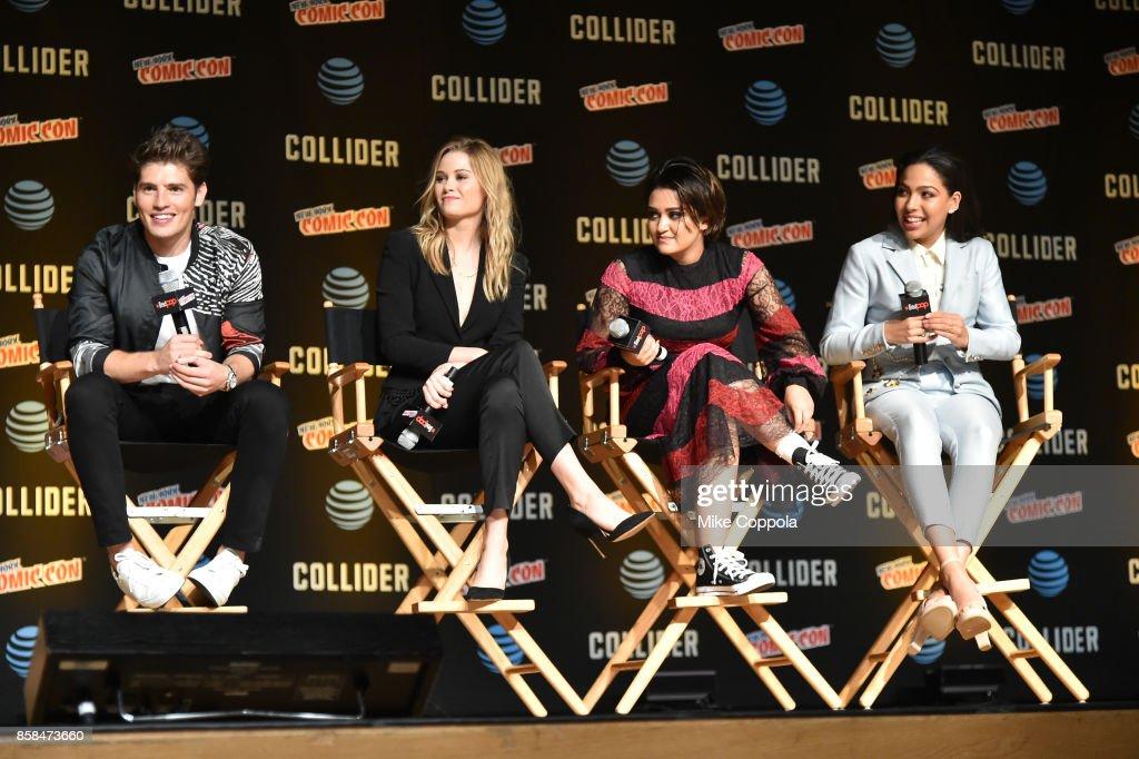 Actors Gregg Sulkin, Virginia Gardner, Ariela Barer, and Allegra Acosta participate in Hulu's Runaways panel at New York Comic Con at Jacob Javits Center on October 6, 2017 in New York City.