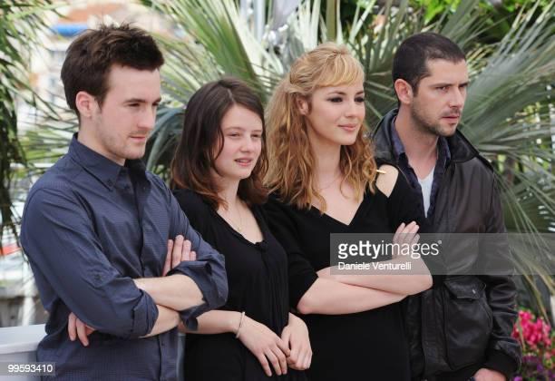 Actors Gregoire Leprince-Ringuet, Pauline Etienne, Louise Bourgoin and Melvil Poupaud attend the 'Black Heaven' Photo Call held at the Palais des...