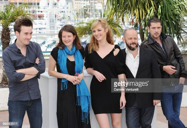 Actors Gregoire Leprince-Ringuet, Pauline Etienne, Louise Bourgoin, Melvil Poupaud and Director Gilles Marchand attend the 'Black Heaven' Photo Call...