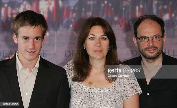 Actors Gregoire LeprinceRinguet Valerie Benguigui and Denis Podalydes pose at the photocall for La Vie d'Artiste during the 33rd Deauville American...